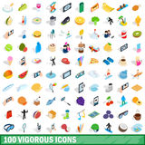 100 vigorous icons set, isometric 3d style. 100 vigorous icons set in isometric 3d style for any design vector illustration stock illustration