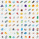 100 vigorous icons set, isometric 3d style Stock Photos