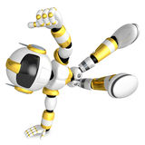 Vigorously dancing gold robot. 3D Robot Character Royalty Free Stock Image
