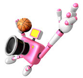 Vigorously jumping basketball player Pink Camera Character. Crea Royalty Free Stock Images