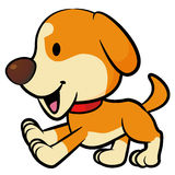 Vigorously Running the dog mascot. Animal Character Design Serie Royalty Free Stock Photo