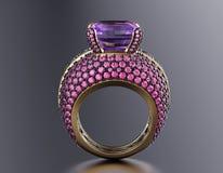 Vigselring med diamanten för tygguld för bakgrund svart silver för smycken Arkivbilder