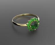 Vigselring med diamanten illustration 3d Royaltyfria Bilder