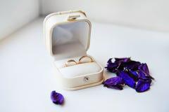 Vigselringar av brudgummen och bruden i en vit ask Arkivfoton