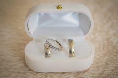 Vigselringar vigselringar på bröllopdag royaltyfri bild