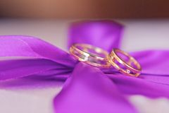Vigselringar på en purpurfärgad textur Fotografering för Bildbyråer