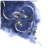 Vigselringar på ett whoteband med marinblå vattenfärgbakgrund stock illustrationer