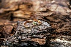 Vigselringar på trä ytbehandlar Arkivfoto