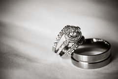Vigselringar (svart & vit) Royaltyfri Bild