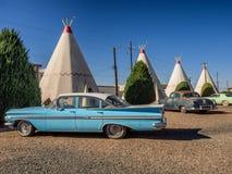 Vigvamhotell på Route 66 i Holbrook Arizona Royaltyfri Fotografi