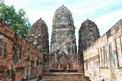 Vihara. Later around the 14th century the temple was adapted to the needs of buddhist fiath.  have been added in the south of central prang.Wat sri Swai royalty free stock image