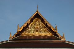 Arts. Temple Roof And The Pediment Decorated With Ornate Thai Art. Vihara in Saket temple.  Roof and the pediment are magnificently  decorated with thai stock photos