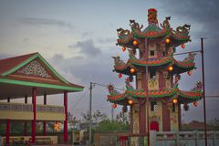 Vihara Satya Dharma é um templo chinês moderno no porto de Benoa, Bali É um templo 'de Satya Dharma 'ou 'de Shenism ', o asiático imagem de stock