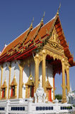 Beautiful Thai temple soaring into blue sky Royalty Free Stock Image