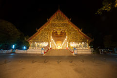 Viharn of Wat Suan Dok temple at night in Chiang Mai. Royalty Free Stock Photo