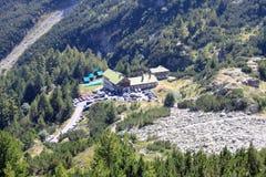 Vihren Hut from above. Aerial view of the Vihren hut high in the Pirin mountains, Bulgaria Stock Photo