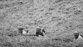 Armed soldiers black and white Royalty Free Stock Photo