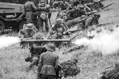 Shooting with anti tank rocket laucher black and white Royalty Free Stock Photo