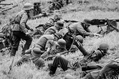 Soldiers in battlefield black and white Royalty Free Stock Image
