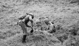 Soldiers digging trench Royalty Free Stock Photos