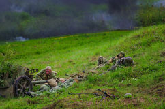 Soldiers under heavy fire Royalty Free Stock Image