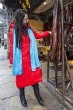 The viistor in the bacon shop,Huanglongxi,chengdu,china Stock Photo