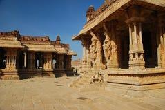 Vijayanagar, India. Het detail van de tempel Stock Foto