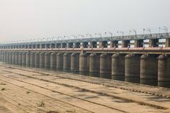View of Prakasam Barrage in Vijayawada, India. royalty free stock images