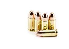 Vijf 9mm kogels Royalty-vrije Stock Foto