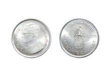 Vijf Bahtmuntstuk, geïsoleerde de munt van Thailand Stock Foto