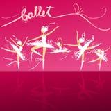 Vijf balletdansers op stadium Stock Afbeelding