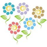 Vijf bloemen vector illustratie