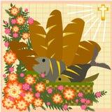 Vijf broden en twee vissen vector illustratie