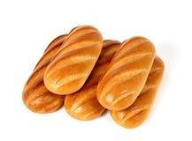 Vijf broden van wit brood Royalty-vrije Stock Afbeeldingen