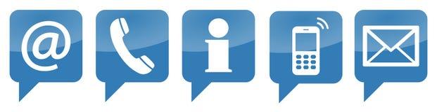 vijf contacteren ons geplaatste pictogrammen Royalty-vrije Stock Foto's