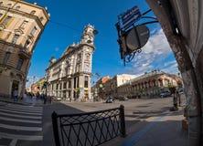 Vijf Cornes die in heilige-Petersburg kruisen Stock Afbeeldingen