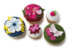 Vijf cupcakes Royalty-vrije Stock Foto's