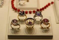 Vijf diamantringen Royalty-vrije Stock Afbeelding