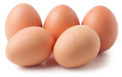 Vijf die eieren op witte achtergrond worden geïsoleerd Royalty-vrije Stock Foto