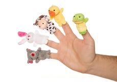 Vijf dierlijke handpoppen Stock Foto