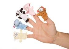 Vijf dierlijke handpoppen Stock Afbeelding