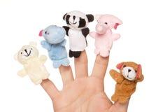 Vijf dierlijke handpoppen Royalty-vrije Stock Afbeelding