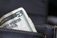 Vijf Dollars innen Amerikaan Royalty-vrije Stock Foto's