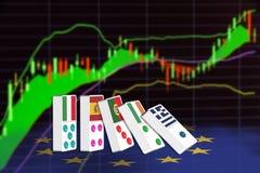 Vijf domino's van de EU-landen die schijnen om financiële problemen te hebben Stock Afbeelding