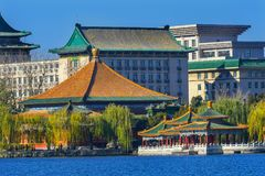 Vijf Dragon Pavilions Beihai Lake Park Peking China stock fotografie