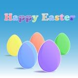 Vijf eieren op blauwe backgrouund Stock Afbeelding