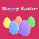 Vijf eieren op rode backgrouund Stock Afbeeldingen