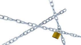 Vijf en roterende die Kettingen bewegen zich die met vier Hangsloten worden gesloten royalty-vrije illustratie