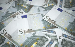 Vijf euro bankbiljettenstapels Royalty-vrije Stock Foto