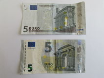 Vijf euro rekeningen Royalty-vrije Stock Afbeelding